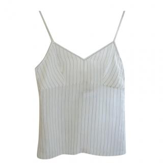 Chloe Cream and blue pinstriped linen blend camisole top