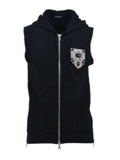 Balmain Embellished-Crest Sleeveless Zip-Up Hoodie Vest
