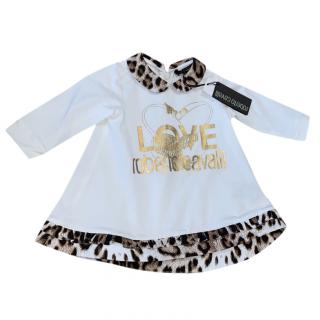 Roberto Cavalli Girl's White & Leopard Print Dress