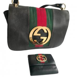 Gucci by Tom Ford Web Stripe GG Shoulder Bag W/ Matching Wallet