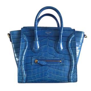 Celine Blue Crocodile Nano Luggage Tote