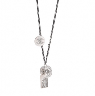 Chanel Crystal CC Whistle Pendant Necklace
