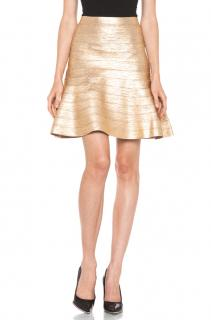 Herve Leger gold metallic bandage skirt