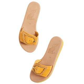 Ancient Greek mustard yellow Aglaia leather sandals