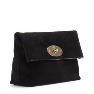 Mulberry Black Clemmie Oversized Suede Clutch