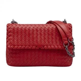 Bottega Veneta Red Intrecciato Shoulder Bag