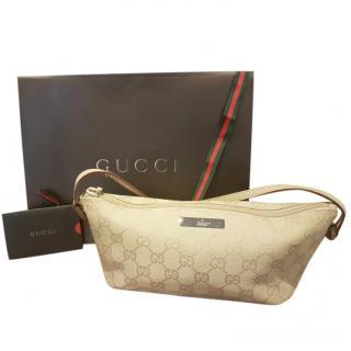 3b0b4376ec27 Gucci VIntage Biege Monogram Canvas Soulder Bag