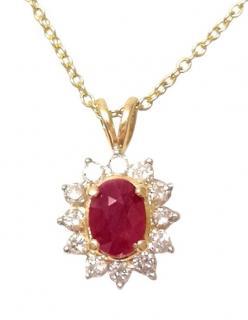 Bespoke Ruby and Diamond Pendant set in yellow gold
