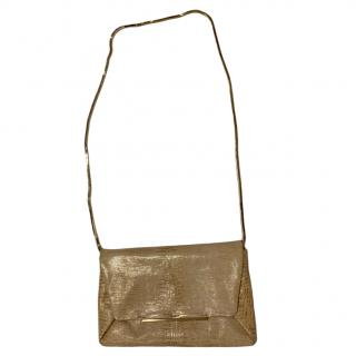 Lanvin embossed gold leather envelope clutch on chain bag
