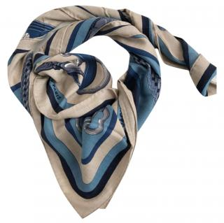 Hermes silk and cashmere blend coaching scarf