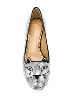 Charlotte Olympia Metallic Disco Kitty Slippers