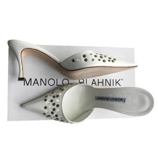 Manolo Blahnik White Studded Mules