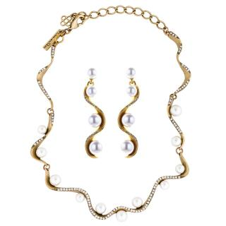 Oscar de la Renta Crystal Pav� Wave Pearl Earrings & Necklace Set