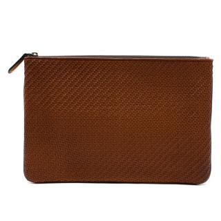 Ermenegildo Zegna Brown Woven Leather Pouch