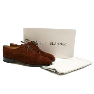 Manolo Blahnik Brown Suede Cap Toe Oxfords
