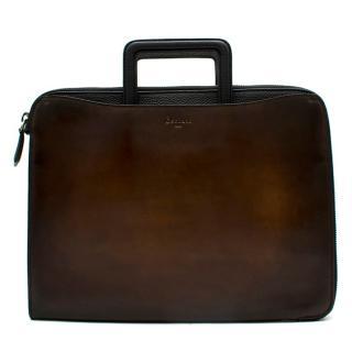 Berluti Tobacco Bis Lift Leather Briefcase