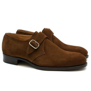 Hardy Amies London Brown Suede Monk Strap Shoes