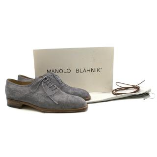 Manolo Blahnik Steel Grey Suede Cap Toe Oxfords