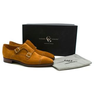 Gaziano Girling Tan Brown Suede Monk Shoes