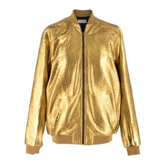 Saint Laurent one of a kind Gold Python Bomber Jacket - Unisex