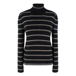 Saint Laurent Striped Turtleneck Knit Sweater