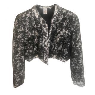 Oscar de la Renta cropped jacket with transparent lace back
