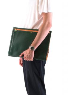 Il Micio Green Goatskin A4 Folio Document Case