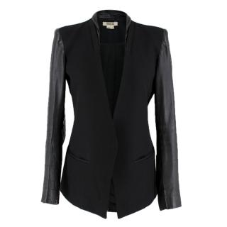 Helmut Lang Black Contrast Panel Single Breasted Blazer