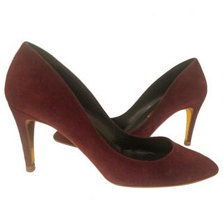 Rupert Sanderson Burgundy suede 85mm pumps