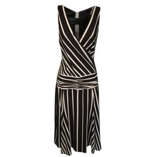 BCBG Max Azria brown and cream striped dress