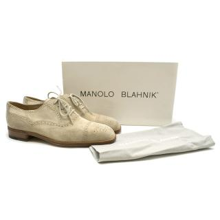 Manolo Blahnik Sand Suede Cap Toe Oxfords