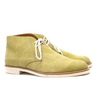 Tanino Crisci Pistachio Canvas Ankle Boots