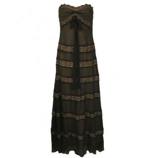 BCBG Max Azria lace-insert strapless maxi dress