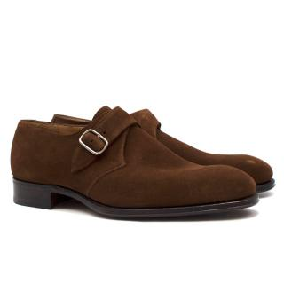 Hardy Amies Brown Suede Monk Shoes