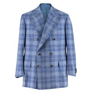 Cesare Attolini Blue Checked Cashmere & Silk-blend Blazer