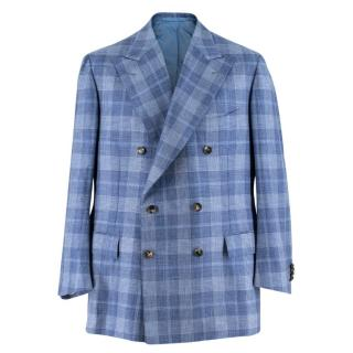 Cesare Attolini Blue Checked Cashmere & Silk-blend Blazer