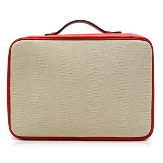 Battistoni Red Leather & Canvas Shirt Case