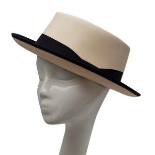 Borsalino Beige Extra-fine Panama Hat with Black Hatband