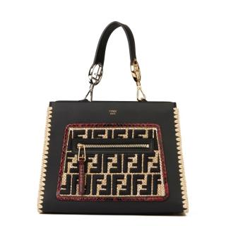 Fendi Leather, Python and Raffia Runaway Bag