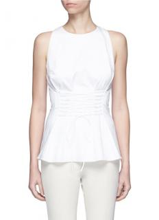 The Row Lace-Up White Sleeveless Top