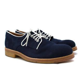 Padrone Blue Suede Plain Toe Derby Shoes