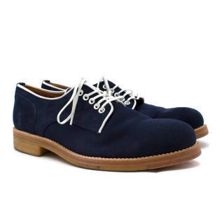 Padrone Blue Suede Plain Toe Derby Shoes