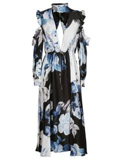 Off-White volant blue floral print maxi dress