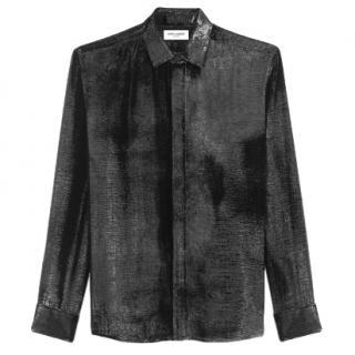 Saint Laurent Black Velvet-Lame Shirt - Pre Season Sample