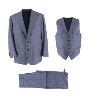 Hardy Amies Bespoke Blue Check Wool Three-piece Suit