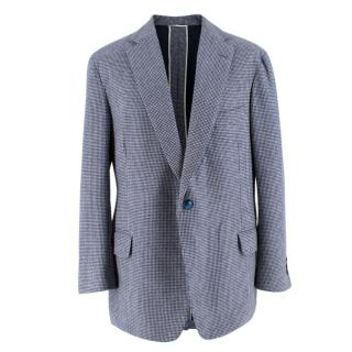 Hardy Amies Bespoke Navy Houndstooth Check Single Breasted Blazer