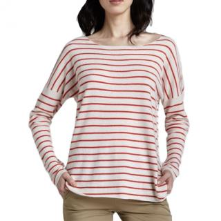 Vince red striped long sleeved t shirt