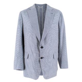 Hardy Amies Bespoke  Blue & White Houndstooth Check Blazer