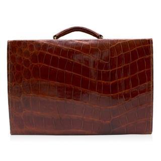Bespoke Chestnut Crocodile Leather Briefcase