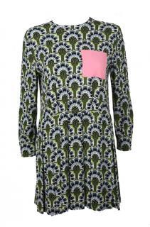 Miu Miu long sleeved pink pocket mini dress